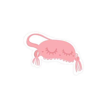 Fashion sticker of a cute pink sleeping mask with closed eyes and eyelashes. Isolated flat hand drawn vector illustration.