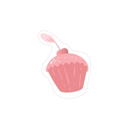 Sweet cup cake with cream and cherry on the top in pink colors icon vector illustration isolated on white background. The   element for bakery or candy shop.
