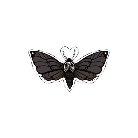 Monochrome black silhouette of Deadhead butterfly vector illustration isolated on white background. Abstract grunge decorative element for stickers and prints.