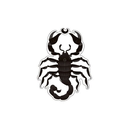 Black scorpion drawing with cartoon texture - wildlife insect animal with dangerous claws and tail. Tattoo idea or mysterious dark omen symbol, isolated vector illustration on white background Illustration