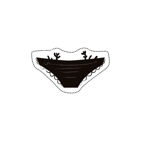 Sticker and icon of black trendy panties and underwear, isolated vector flat hand drawn illustration.