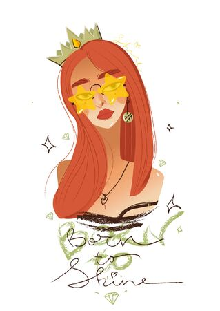 Beautiful girl fashion queen or princess in the crown. Girl for cards, notebooks and prints with lettering and calligraphy Born to shine. Isolated vector hand drawn illustration. Banque d'images - 128505074