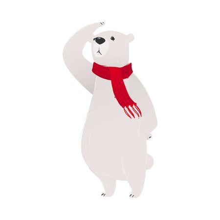 A polar white bear in a red scarf is standing on its hind legs. Christmas and New Year polar bear concept for greeting cards. Isolated hand drawn vector illustration.