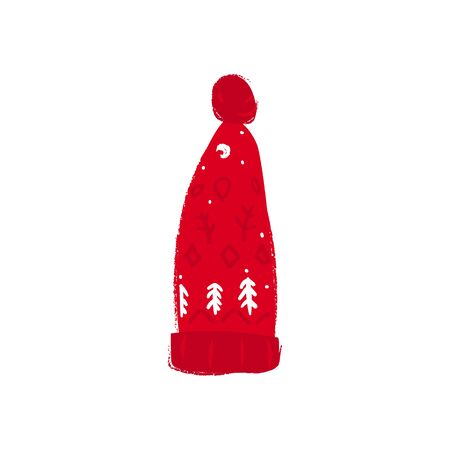Winter red knitted of wool warm hat with traditional scandinavian pattern flat vector illustration isolated on white background. Christmas and new Year design element.