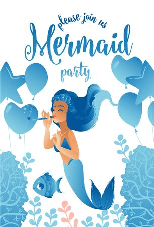 Blue invitation, greeting card and flyer template for mermaid party. Blue mermaid at a party with fish, algae and balloons, isolated flat vector illustration.