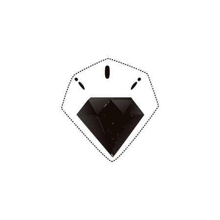 Sticker and icon of a beautiful black gothic fashion diamond. Isolated vector flat hand drawn illustration of black diamond.