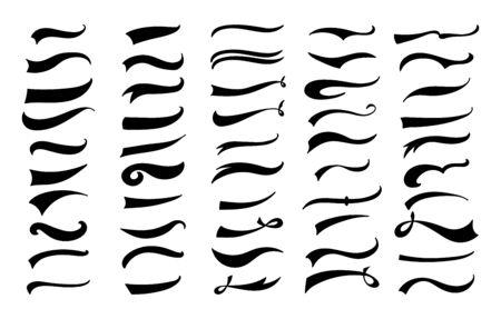 Set di decorazioni swoosh vintage americano - linee di vortice e onda retrò per la decorazione di lettere di baseball, ornamenti in stile pennello calligrafia piatto nero - illustrazione vettoriale isolato Vettoriali