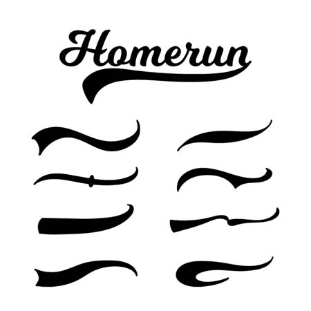 Set of baseball swoosh of different shapes with calligraphy homerun inscription vector graphic illustrations isolated on white background. Retro baseball tail prints.