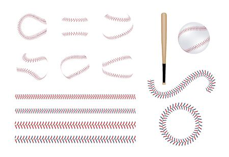 Set of different baseball and softball laces, bits and ball. Set of baseball equipment and realistic lace. Isolated vector illustration of sport game.