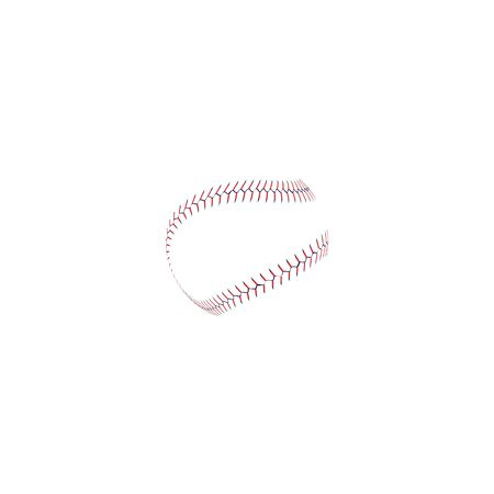 Baseball or softball realistic red lace around the ball, isolated vector illustration for a sports game. Illustration