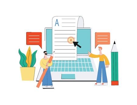 Concept of online articles in the internet media, content in the blog and post in social networks with laptop, pencil and men characters. Isolated vector flat illustration of online article. Illustration