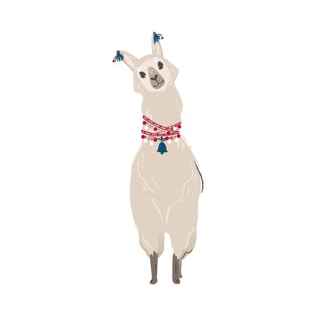 Cute animal llama or alpaca from Peru. Funny llama character for cards, posters and prints. Isolated hand drawn vector illustration.  イラスト・ベクター素材