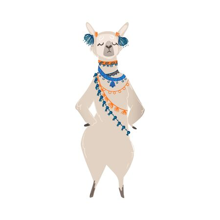 A cute animal llama or alpaca stands on its hind legs in headphones and traditional jewelery. An isolated cartoon vector illustration of a llama from Peru.