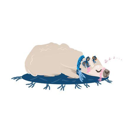 Lama mignon dormant sur un tapis - animal drôle d'alpaga de bande dessinée avec le collier faisant une sieste. Illustration vectorielle à la mode isolée du lama domestique faisant la sieste dans une position confortable. Vecteurs