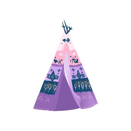 Pink and purple wigwam or teepee traditional historic house of American Indians. Isolated vector hand drawn wigwam cartoon illustration. Archivio Fotografico - 128505100