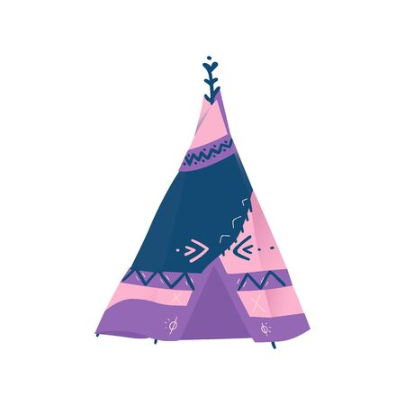 Traditional wigwam, teepee or tipi of native american indian, hand drawn isolated vector illustration. Archivio Fotografico - 128505101