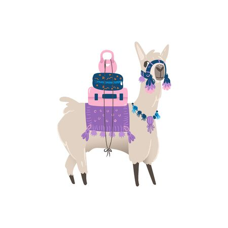 Cute animal llama or alpaca from Peru carries items and luggage with suitcases and weights, isolated cartoon vector hand drawn illustration of a llama.  イラスト・ベクター素材