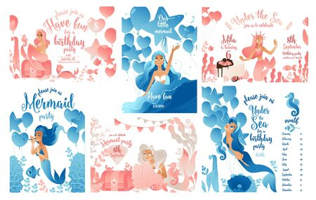 Cute mermaid and under the sea life cartoon templates set for party invitations and birthday cards in pink and blue flat vector illustration isolated on white background. Ilustracja