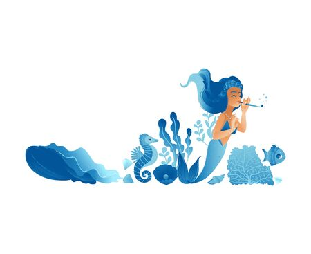 Blue hand drawn mermaid girl with sea animals, cute cartoon character playing musical instrument while swimming in ocean water with sea horse, fish and seaweed - isolated set vector illustration Banco de Imagens - 128505108
