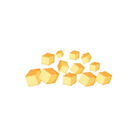 Pile of brown sugar cubes from sugar cane, isolated vector illustration on white background. Illustration