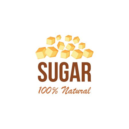 A pile of one hundred percent natural brown sugar cubes from sugar cane with text. Isolated vector illustration with cubes of brown cane sugar. Ilustração
