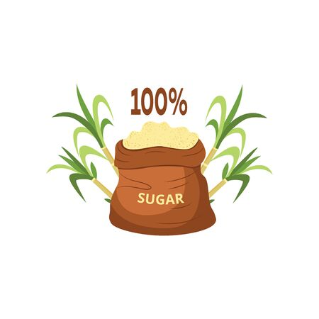 One hundred percent natural brown granulated and crystallized sugar from cane sugar in a bag. Sugar in a bag next to a cane plant. Isolated vector illustration. Vettoriali