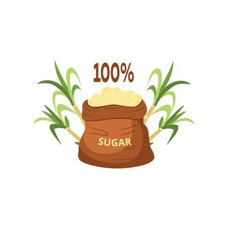 Sucre granulé et cristallisé brun naturel à cent pour cent de sucre de canne dans un sac. Sucre dans un sac à côté d'un plant de canne à sucre. Illustration vectorielle isolée.