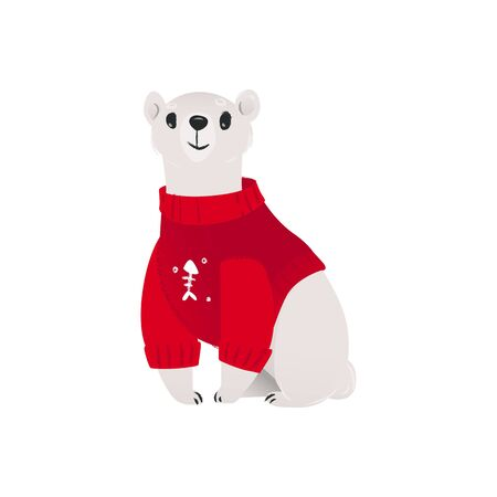 Arctic polar white bear in the winter red sweater the element for Christmas and New Year cards and posters design, cartoon vector illustration isolated on white background.