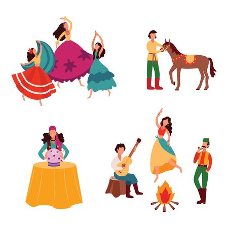 Gypsies or Romani people set of various activities scenes such as riding horse, playing guitar and dancing flat cartoon vector illustration isolated on white background.