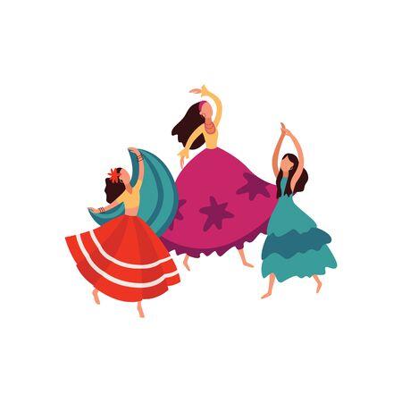 Las mujeres y niñas gitanas bailan con exuberantes y hermosas faldas. Bailarina gitana tradicional. Ilustración de vector aislado en estilo plano.