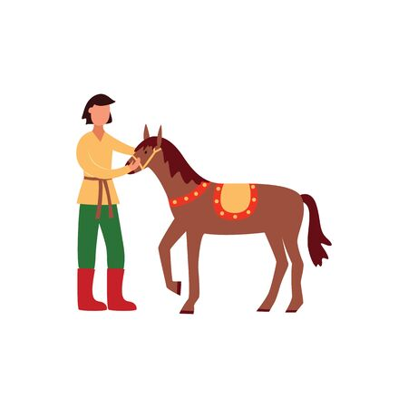 Brunet young gypsy man in traditional pants and shirt holds and strokes his horse. Isolated flat vector illustration of gypsy man and horse. Illustration