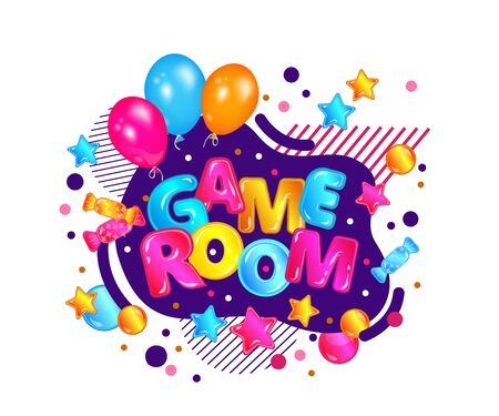 Children game room sign with festive balloons and confetti, kids activity park play zone banner with fun decorations, colorful playground label isolated on white background - vector illustration