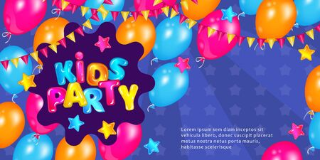 Kids party banner with fun colorful balloons and cartoon text, blue invitation card with play time decorations. Children entertainment activity day poster - vector illustration