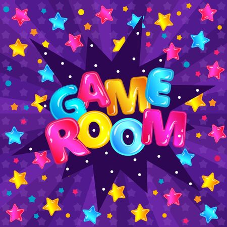 Children game rooms banner design for kids preschools and playgrounds with rainbow colorful letters and stars, cartoon vector illustration on the purple background.