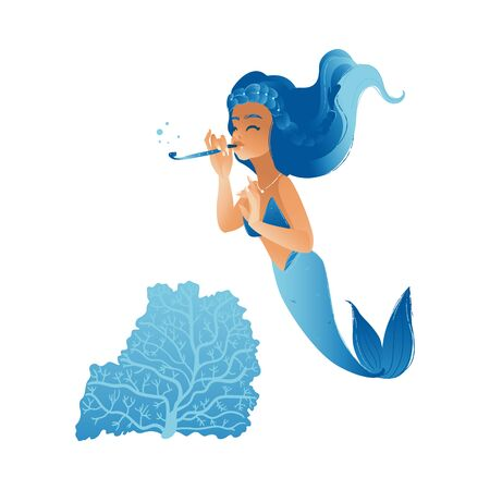 Cute mermaid girl with blue hair swimming in sea playing a flute, isolated hand drawn musical cartoon character in the ocean blowing bubbles through tube, vector illustration
