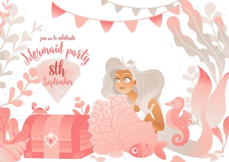 Mermaid party invitation card template in pink colors with cute sea princess vector illustration. Under the sea background for birthday and children's holiday celebrations. Standard-Bild - 128505128