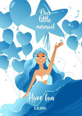 Birthday party invitation card template with cute little mermaid cartoon character and anniversary celebration balloons flat vector illustration isolated on white background. 向量圖像