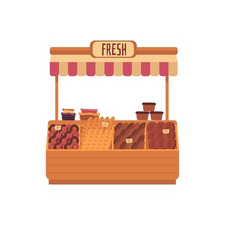 Market place - cute bakery stall with fresh bread and pastry isolated on white background. Small business store selling local food, cartoon grocery shop counter vector illustration Illustration