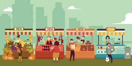 Local market place with fresh food in a big city. Buyers buy meat and milk, fruits and vegetables, bread and cheese from local market sellers. Isolated vector illustration in flat cartoon style.