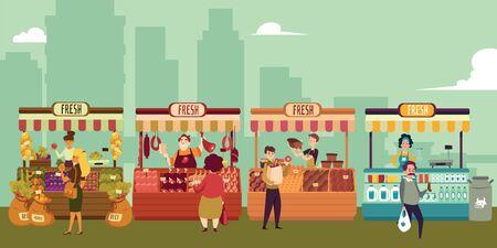Lokaler Marktplatz mit frischen Lebensmitteln in einer Großstadt. Die Käufer kaufen Fleisch und Milch, Obst und Gemüse, Brot und Käse von lokalen Marktverkäufern. Isolierte Vektor-Illustration im flachen Cartoon-Stil.