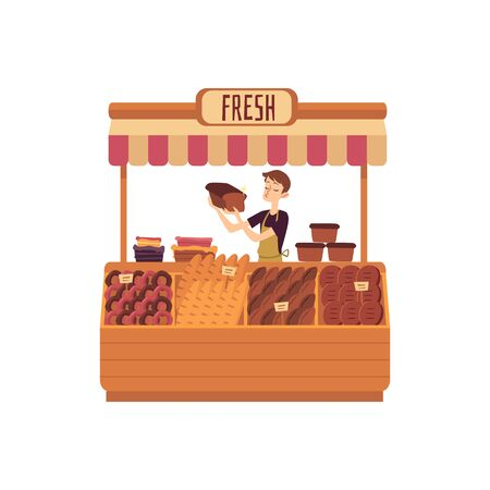 Man at counter of marketplace selling bakery production flat vector illustration isolated on white background. Seller at place for selling food on local farmers market.