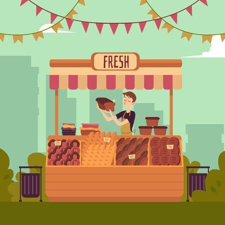 Mann am Schalter des Marktplatzes, der flache Vektorillustration der Bäckereiproduktion auf dem Stadtbildhintergrund verkauft. Verkäufer vor Ort für den Verkauf von Lebensmitteln auf dem lokalen Bauernmarkt.