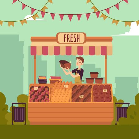 Man at counter of marketplace selling bakery production flat vector illustration on the cityscape background. Seller at place for selling food on local farmers' market. Illustration