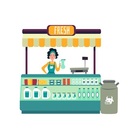Young woman trades at a market place counter and sells milk. Woman or girl seller stands at the counter of a market place and sells fresh dairy products. Isolated flat cartoon vector illustration.