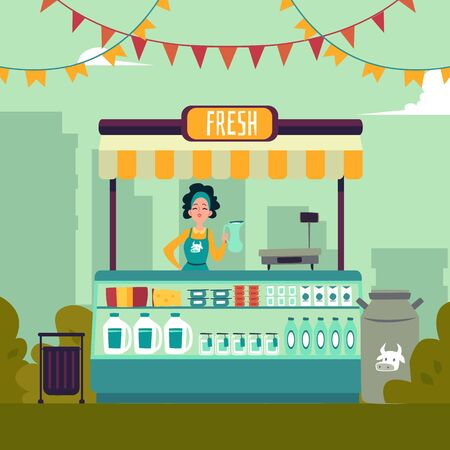 The local market place with dairy products on the background of a big city. The young woman behind the counter sells milk vector illustration of the market place in a flat cartoon style. Çizim