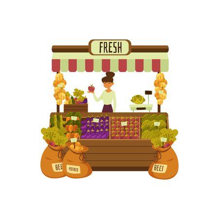 Stand de verduras frescas - mujer de dibujos animados vendiendo frutas y verduras en el mercado de la calle. Propietario de una pequeña empresa con una tienda de productos agrícolas sosteniendo una manzana - ilustración de vector de tienda de alimentos y abarrotes