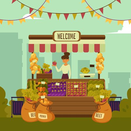Local market place with vegetables and fruits with landscape of a big city. Young woman seller stands behind organic market place, vector illustration of market place in flat cartoon style. Illustration