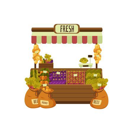 Zähler des Gemüseladens oder des Marktplatzes mit der flachen Vektorillustration des Obsts und des Gemüses lokalisiert auf weißem Hintergrund. Platz für den Verkauf von Lebensmitteln auf dem Bauernmarkt.