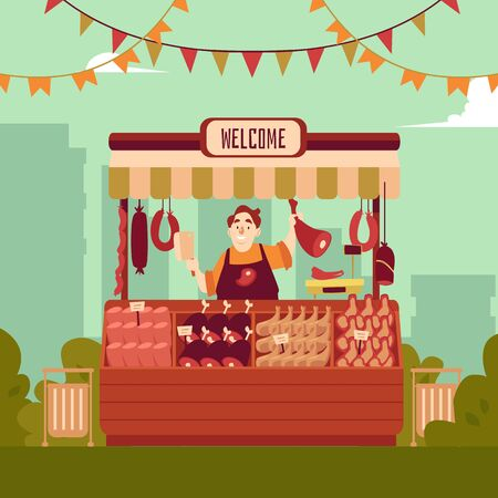 Farmer street market or fair shopping counter with meat and seller man cartoon character the flat vector illustration on the city landscape background. Marketplace food stand.