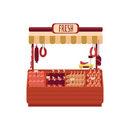 Butchers shop or street marketplace with assortment of meat and sausages flat vector illustration isolated on white background. Street store stand of local farmers fair.
